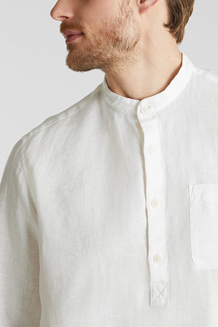 Made of linen: Shirt with a stand-up collar, OFF WHITE, detail image number 2