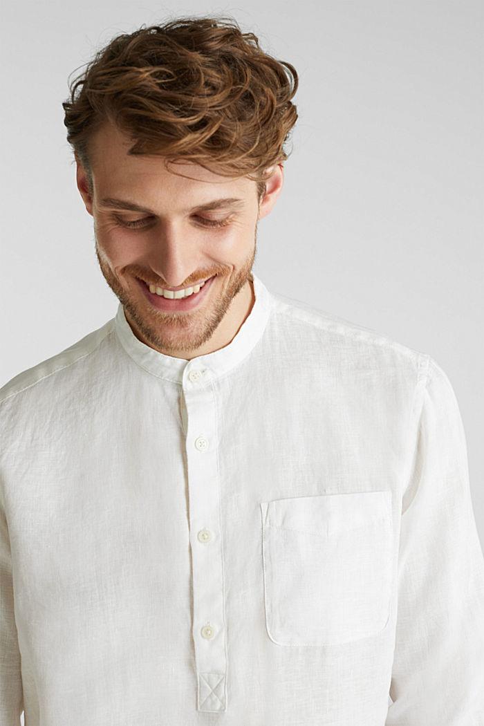 Aus Leinen: Hemd mit Stehkragen, OFF WHITE, detail image number 6