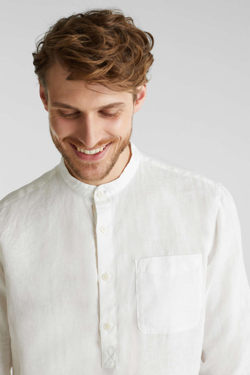 Made of linen: Shirt with a stand-up collar, OFF WHITE, detail image number 6