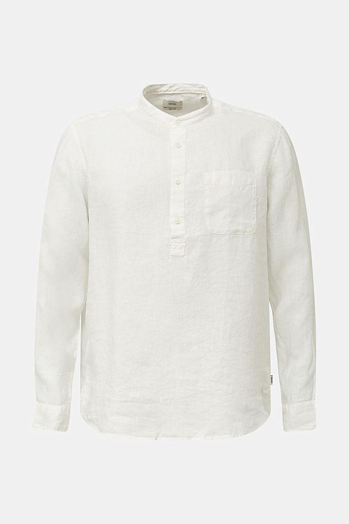 Aus Leinen: Hemd mit Stehkragen, OFF WHITE, detail image number 8