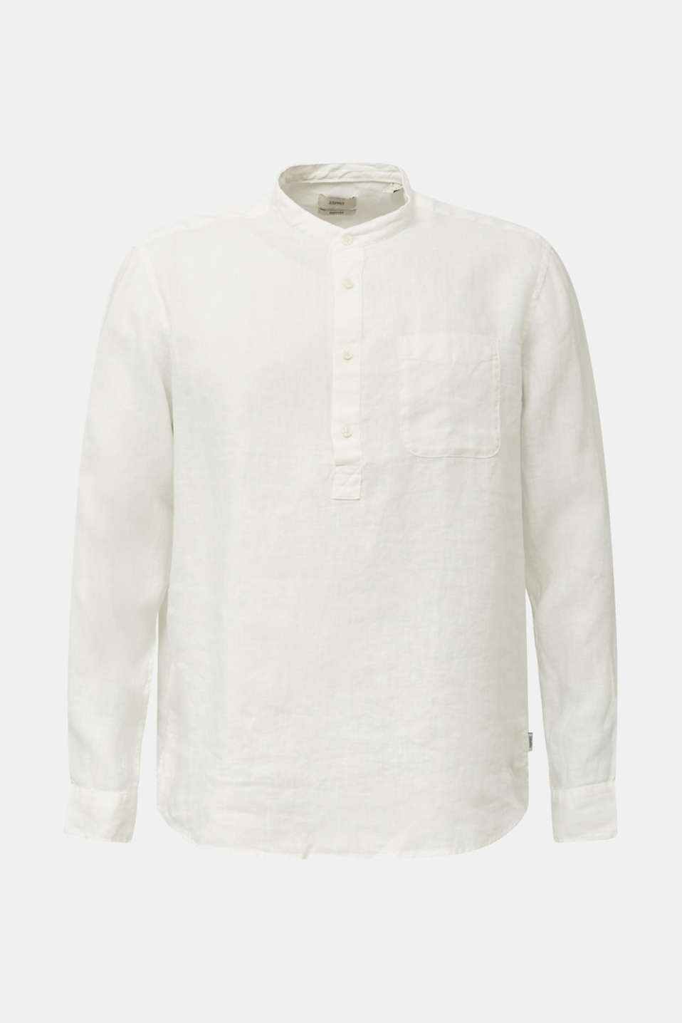 Made of linen: Shirt with a stand-up collar, OFF WHITE, detail image number 8