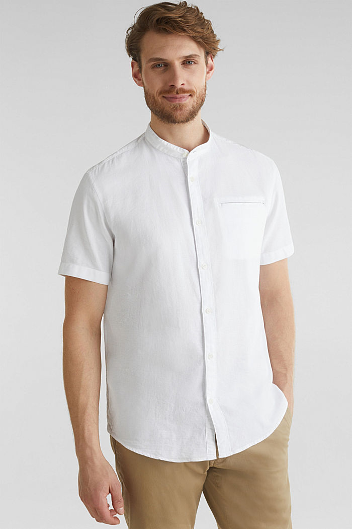 Material-mix shirt made of 100% organic cotton, WHITE, detail image number 0