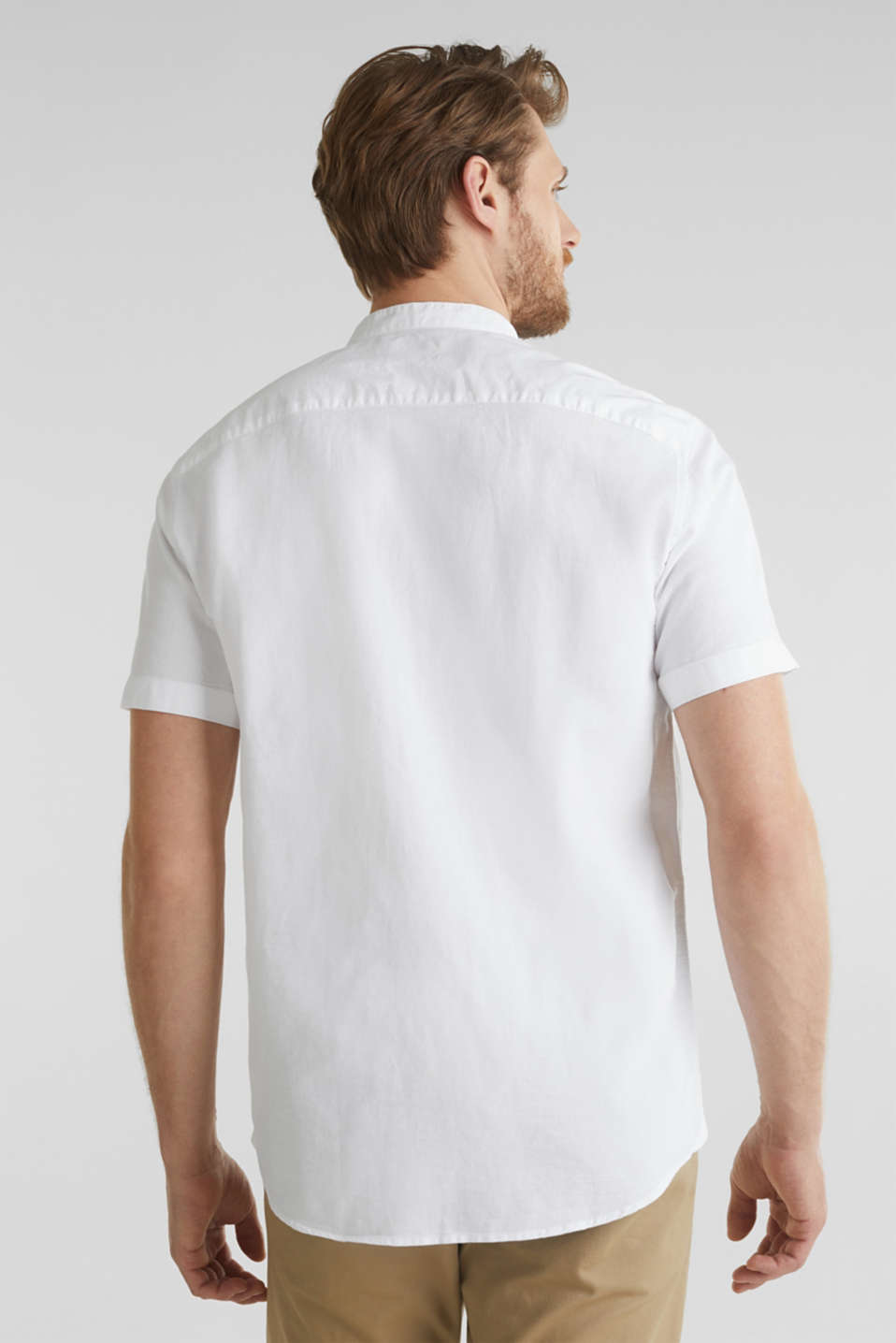 Material-mix shirt made of 100% organic cotton, WHITE 5, detail image number 3