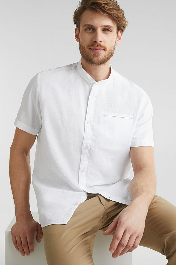 Material-mix shirt made of 100% organic cotton, WHITE, detail image number 6