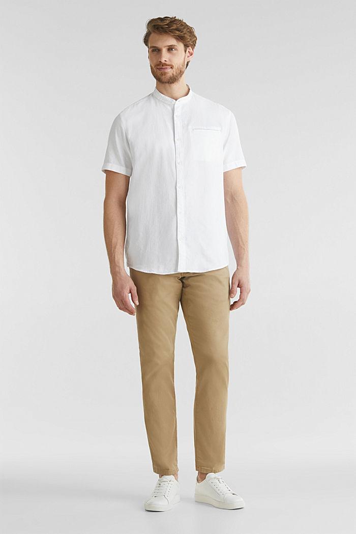 Material-Mix-Hemd aus 100% Organic Cotton, WHITE, detail image number 1