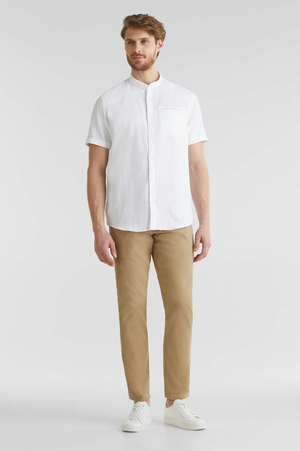 Material-mix shirt made of 100% organic cotton, WHITE 5, detail image number 1