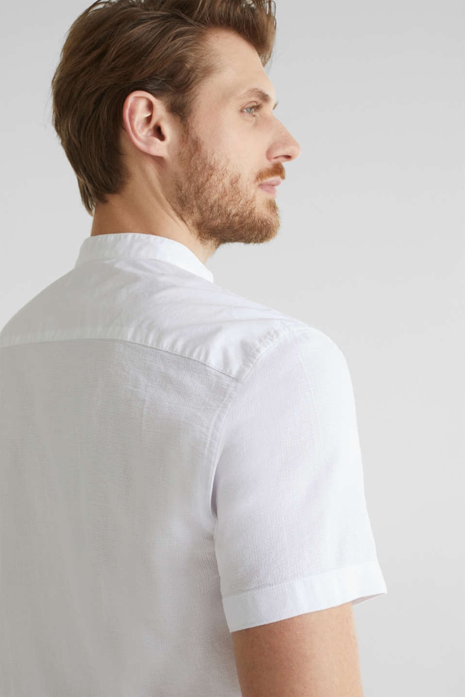 Material-mix shirt made of 100% organic cotton, WHITE 5, detail image number 2