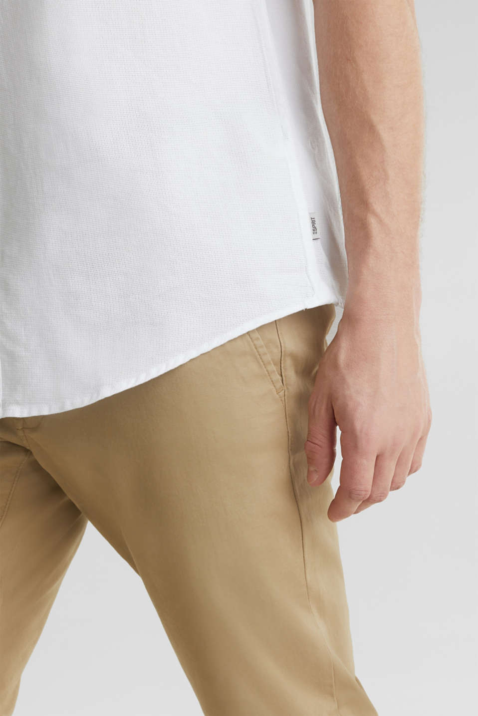 Material-mix shirt made of 100% organic cotton, WHITE 5, detail image number 5