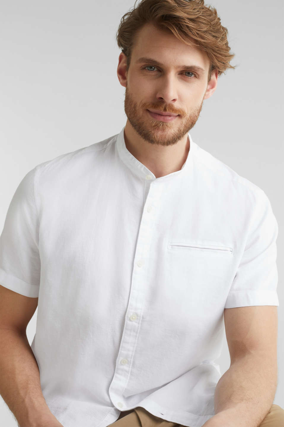 Material-mix shirt made of 100% organic cotton, WHITE 5, detail image number 7