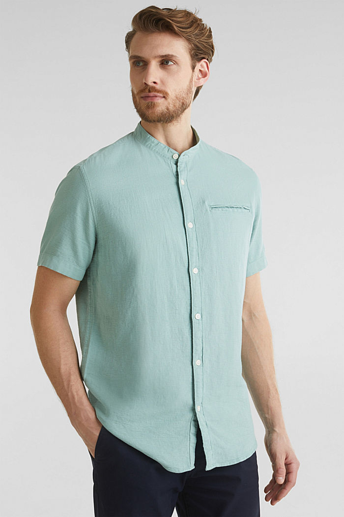 Camicia in materiale misto, 100% cotone biologico, DUSTY GREEN, detail image number 0