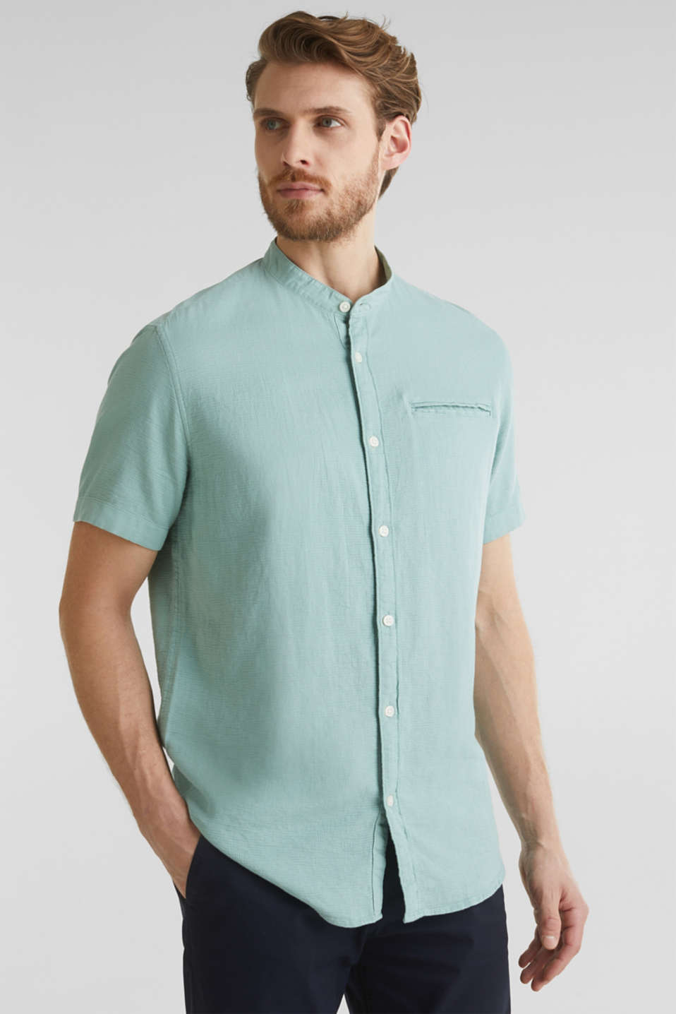 Material-mix shirt made of 100% organic cotton, DUSTY GREEN 5, detail image number 0