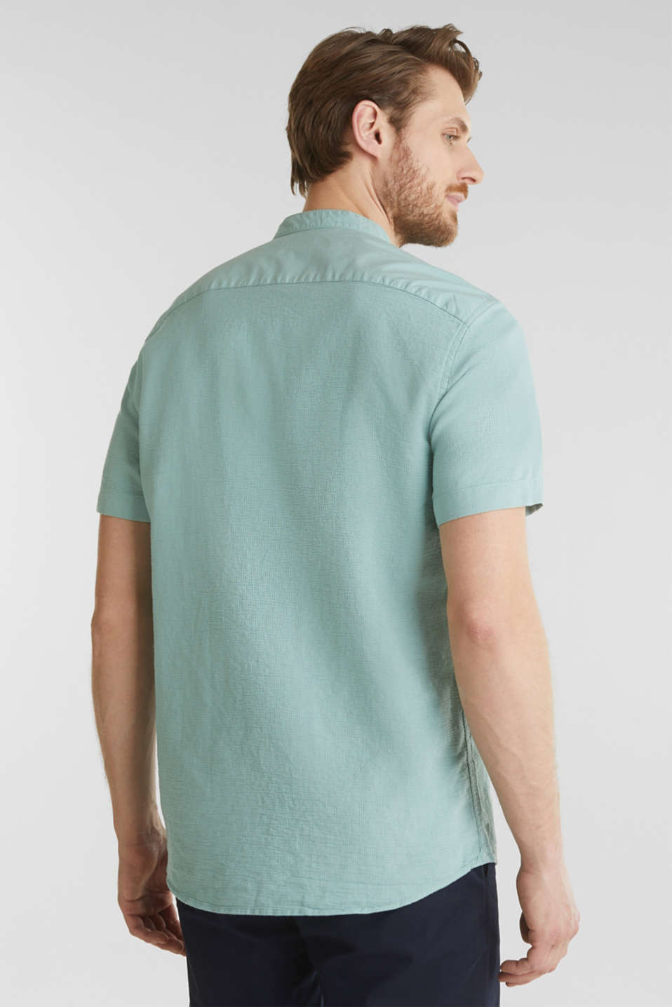Material-mix shirt made of 100% organic cotton, DUSTY GREEN 5, detail image number 3