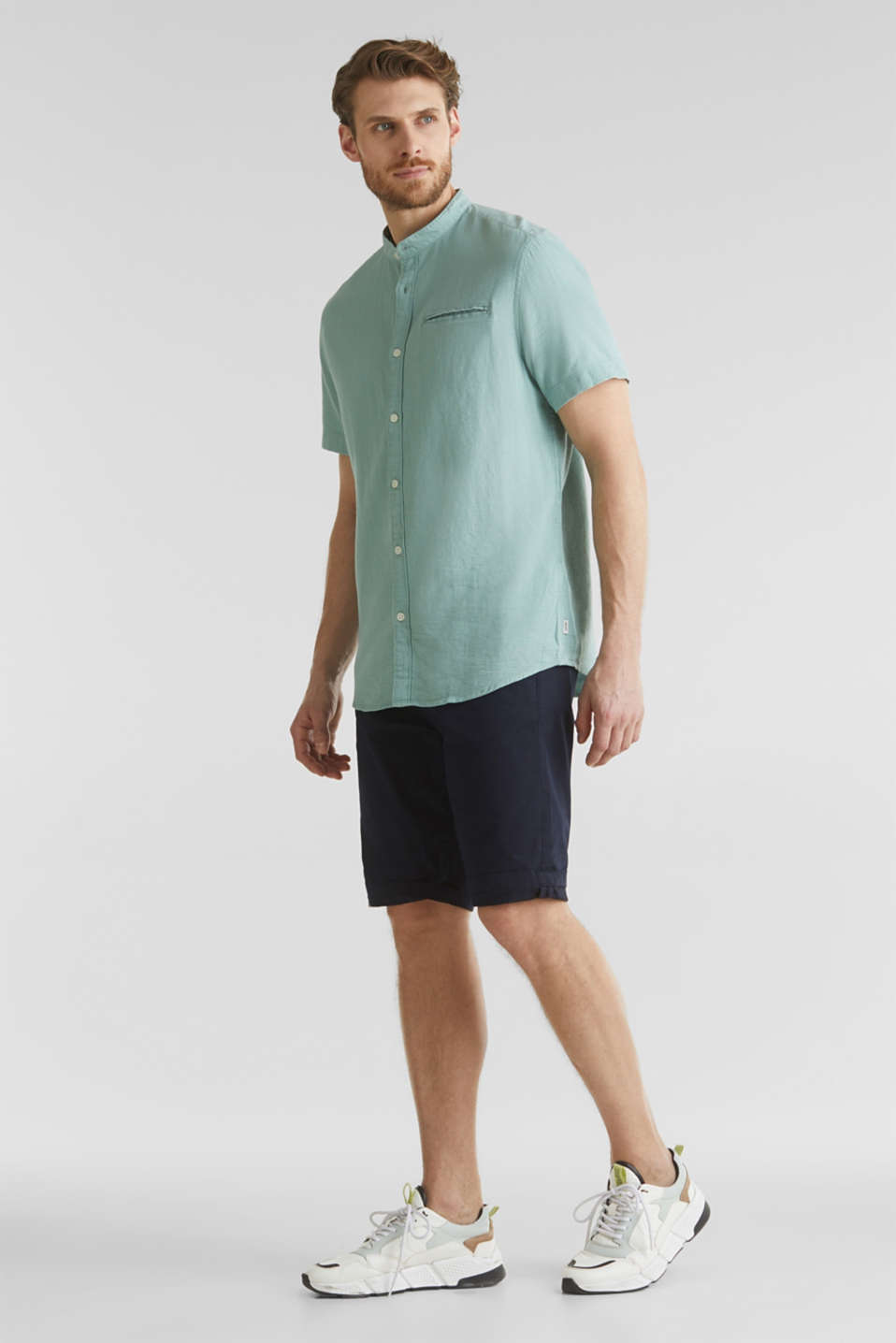 Material-mix shirt made of 100% organic cotton, DUSTY GREEN 5, detail image number 1