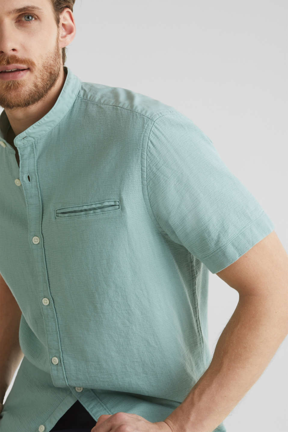 Material-mix shirt made of 100% organic cotton, DUSTY GREEN 5, detail image number 2