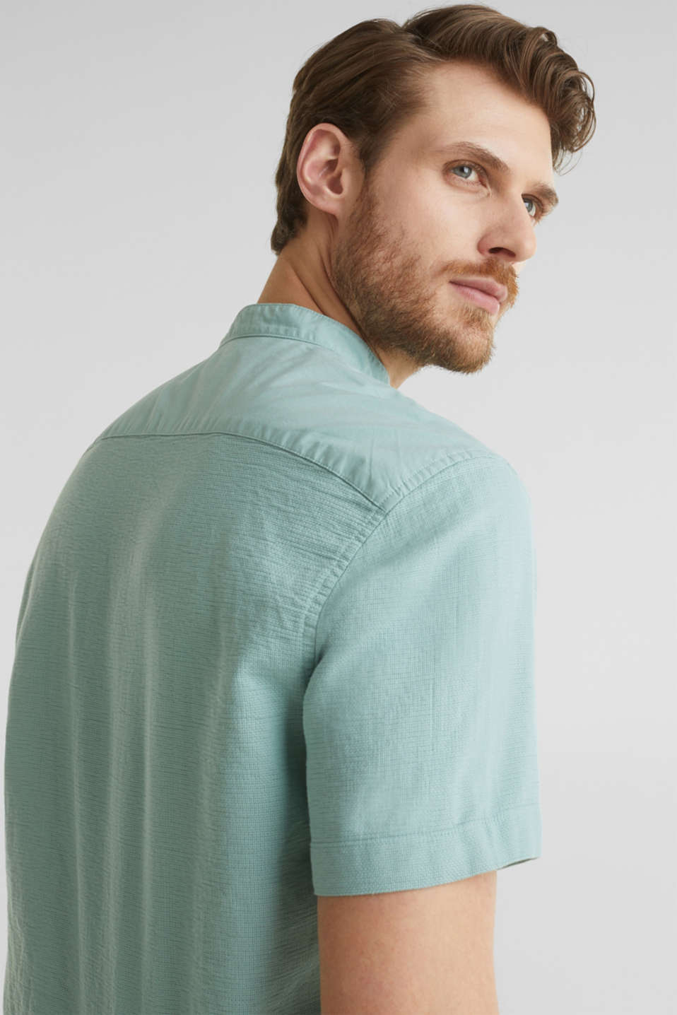 Material-mix shirt made of 100% organic cotton, DUSTY GREEN 5, detail image number 5