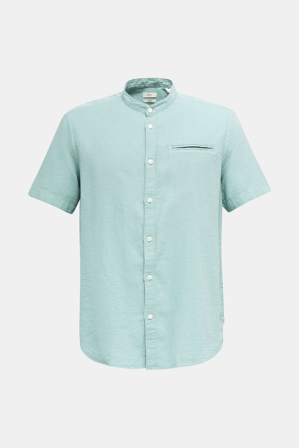 Material-mix shirt made of 100% organic cotton, DUSTY GREEN 5, detail image number 6