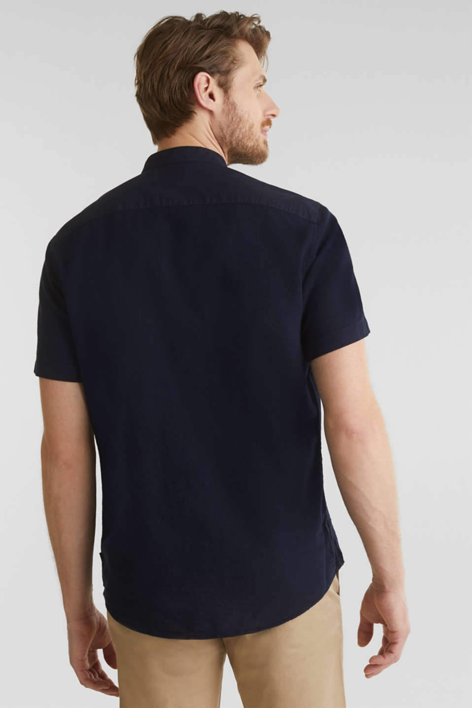 Material-mix shirt made of 100% organic cotton, NAVY 5, detail image number 3