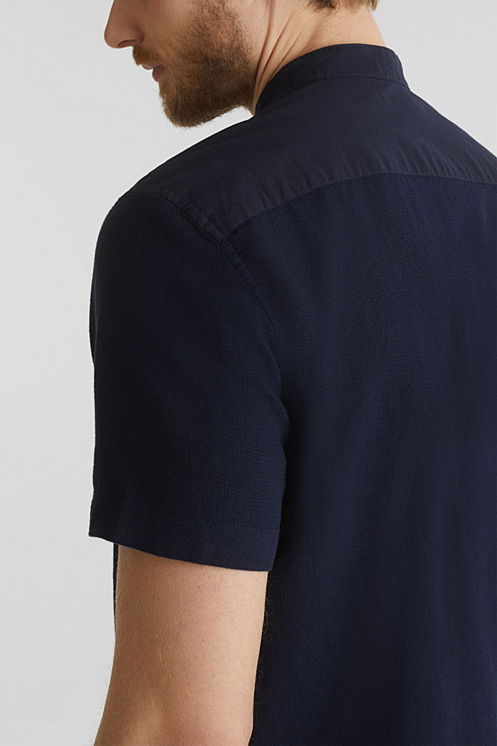 Material-mix shirt made of 100% organic cotton, NAVY, detail image number 2