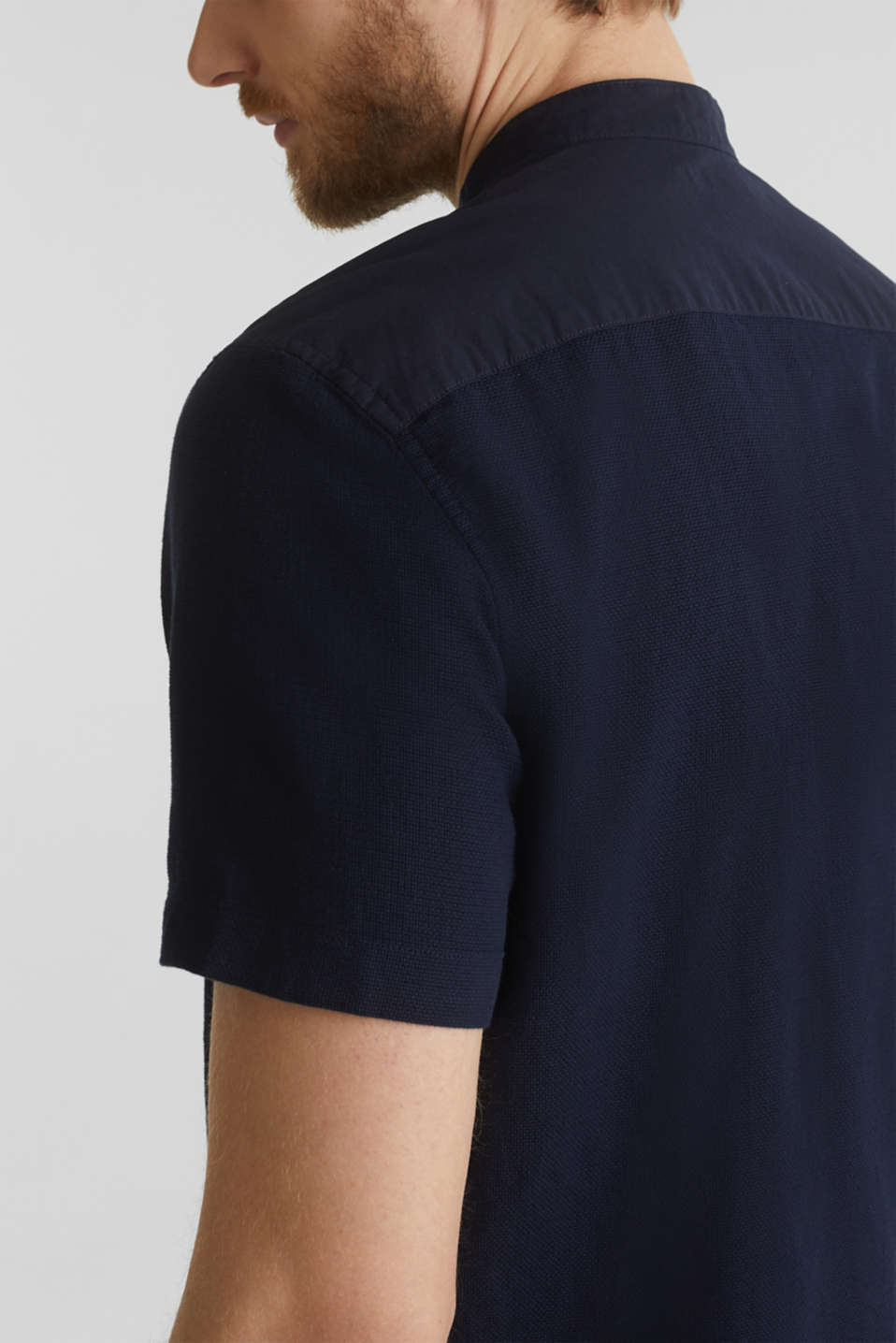 Material-mix shirt made of 100% organic cotton, NAVY 5, detail image number 2