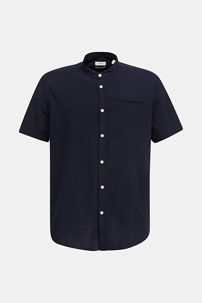 Material-mix shirt made of 100% organic cotton, NAVY, detail image number 6