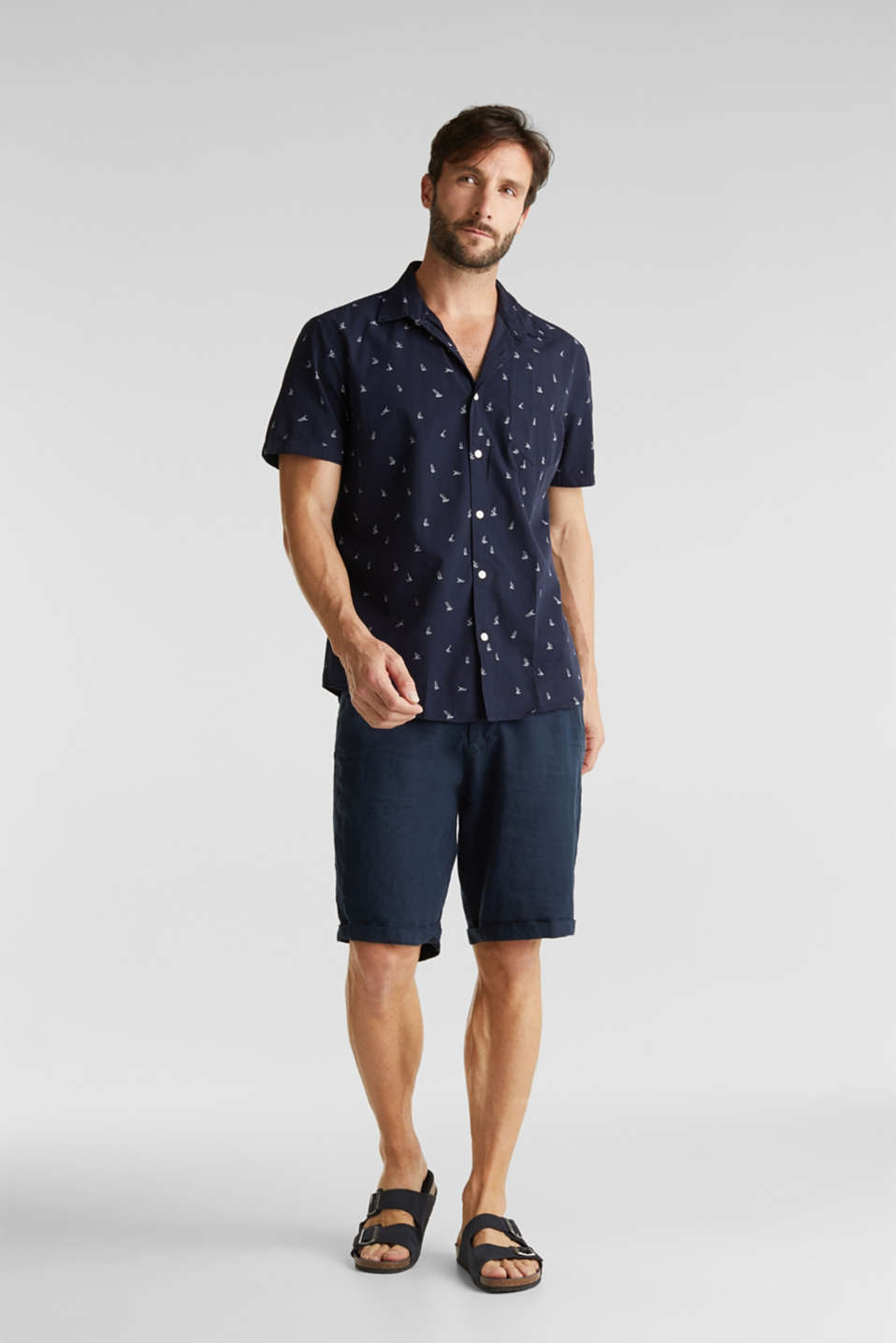 Print shirt made of 100% organic, NAVY, detail image number 1