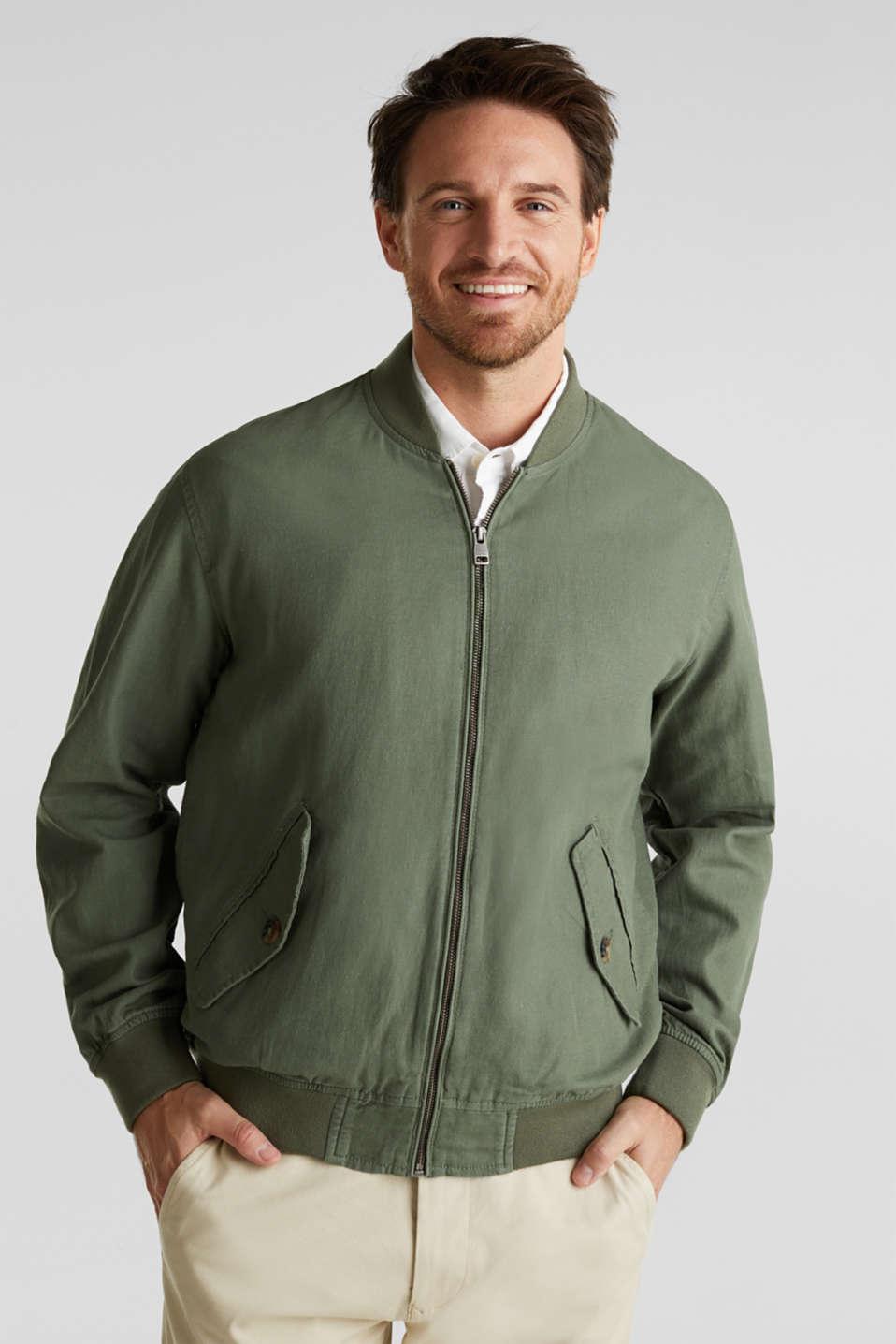 Linen blend: bomber jacket, KHAKI GREEN, detail image number 0
