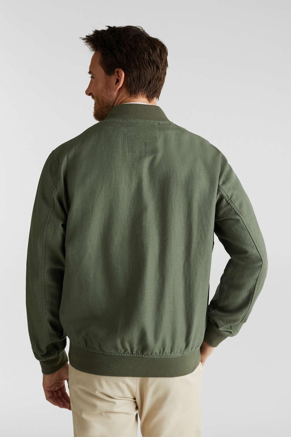 Linen blend: bomber jacket, KHAKI GREEN, detail image number 3
