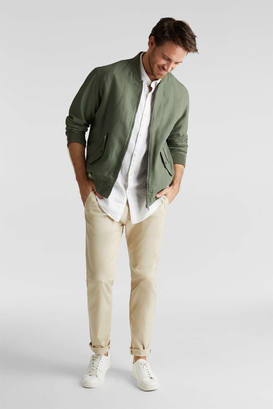 Linen blend: bomber jacket, KHAKI GREEN, detail image number 1