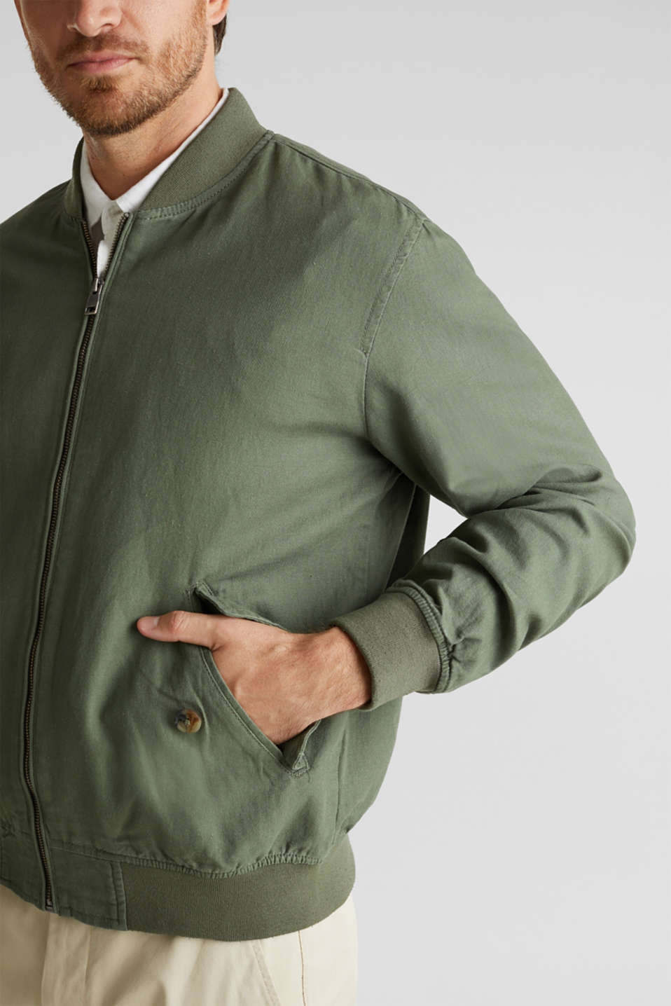 Linen blend: bomber jacket, KHAKI GREEN, detail image number 2