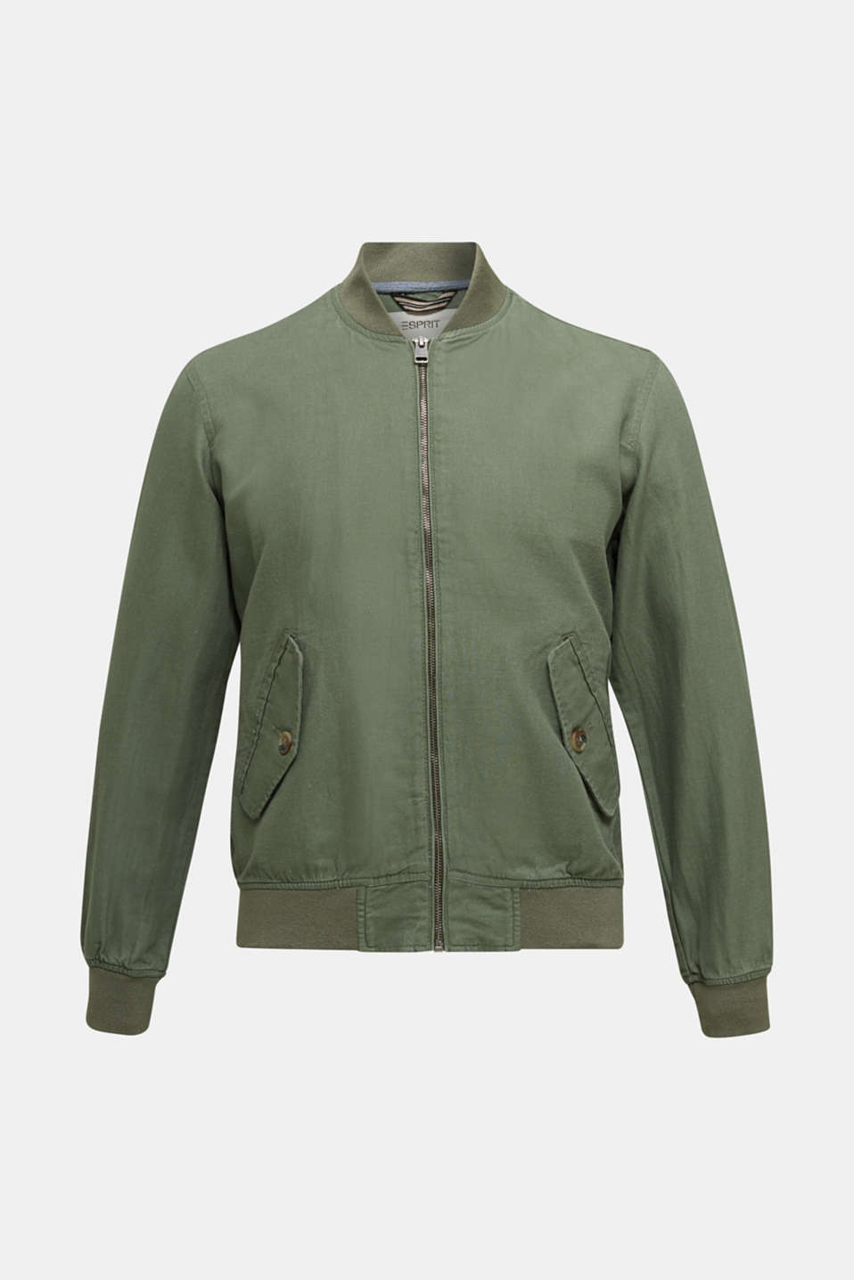 Linen blend: bomber jacket, KHAKI GREEN, detail image number 5