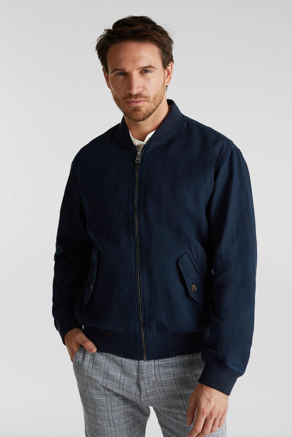 Linen blend: bomber jacket, NAVY, detail image number 0