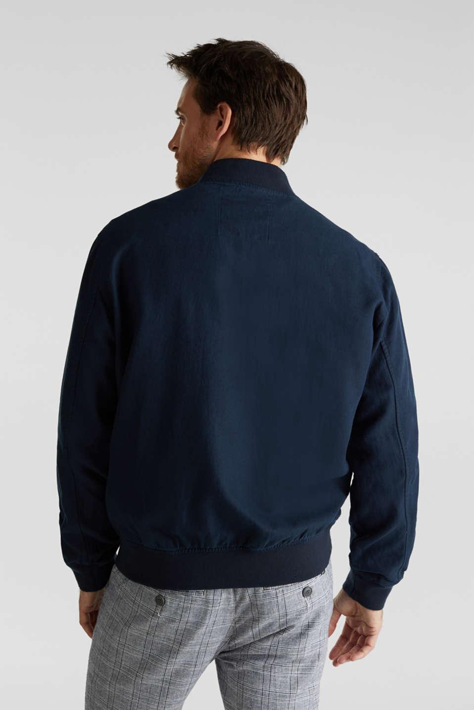 Linen blend: bomber jacket, NAVY, detail image number 3