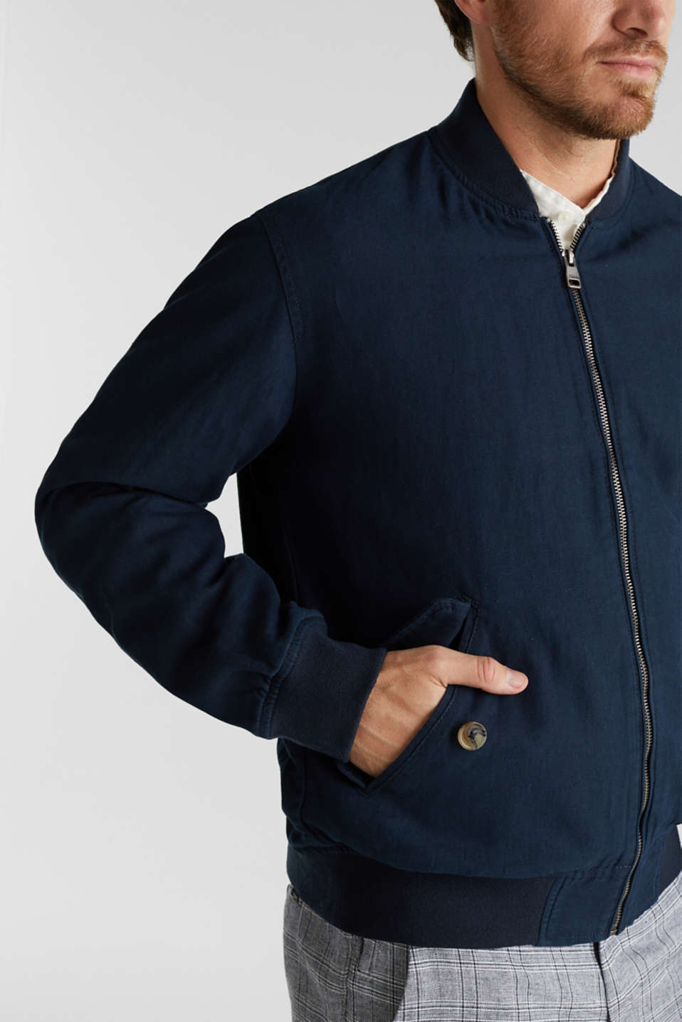 Linen blend: bomber jacket, NAVY, detail image number 2