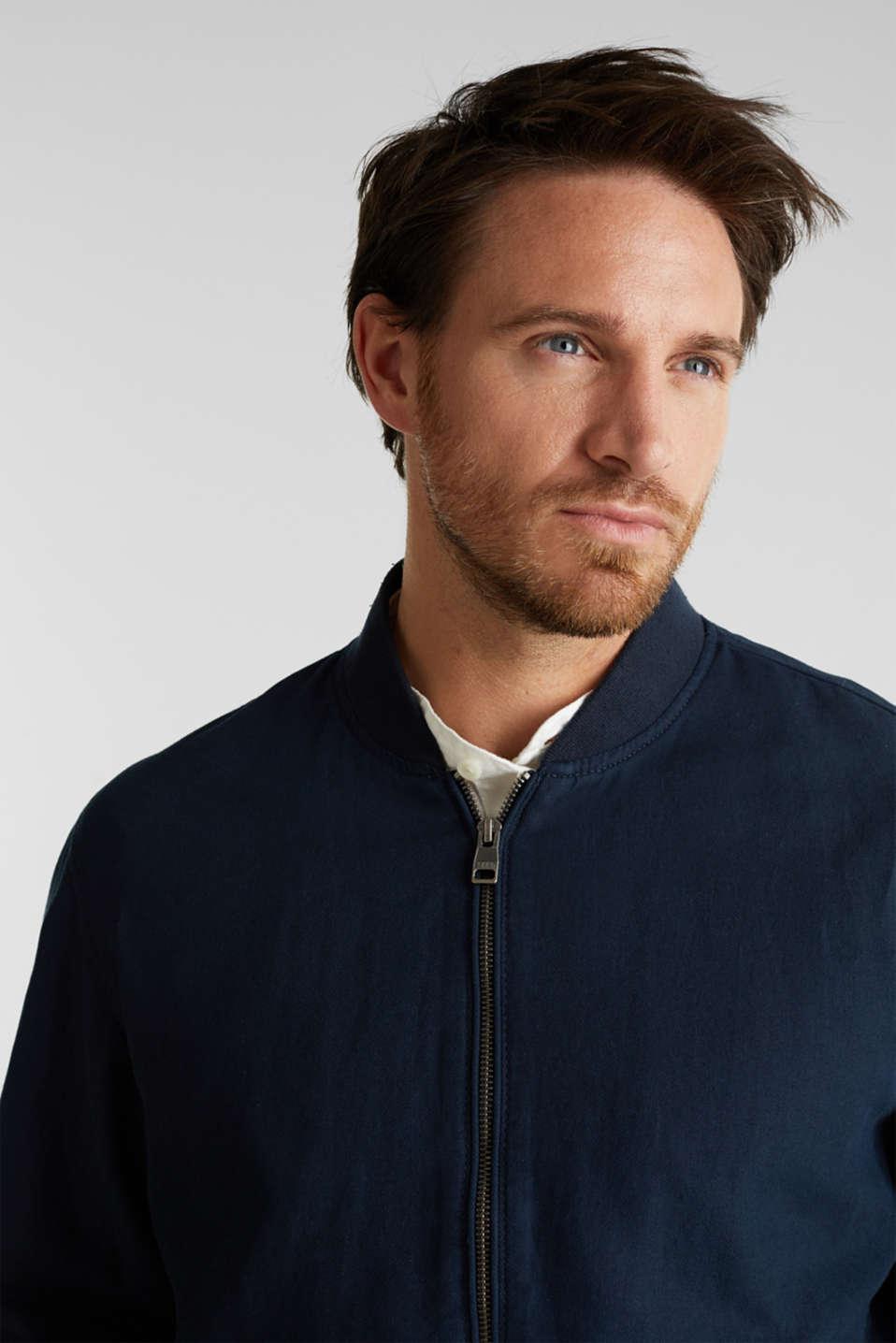 Linen blend: bomber jacket, NAVY, detail image number 5