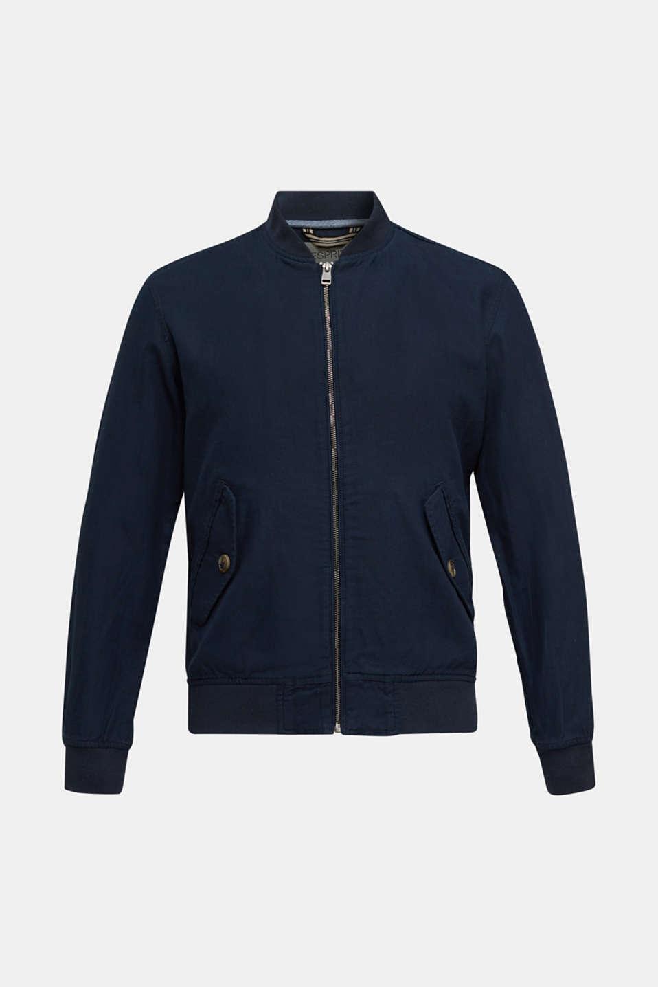Linen blend: bomber jacket, NAVY, detail image number 6