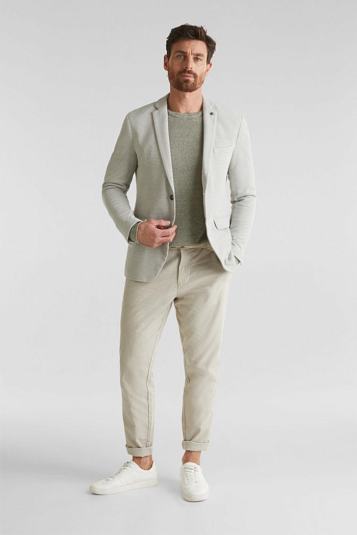 Jersey jacket made of 100% cotton, LIGHT KHAKI, detail image number 1
