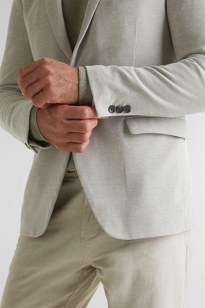 Jersey jacket made of 100% cotton, LIGHT KHAKI, detail image number 2