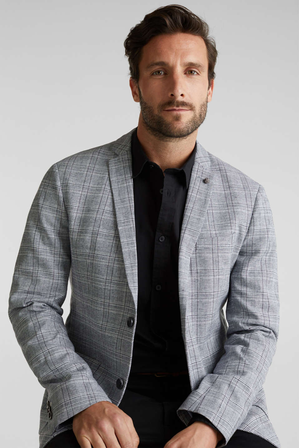 SUMMER CHECK mix + match tailored jacket, BLUE 3, detail image number 4