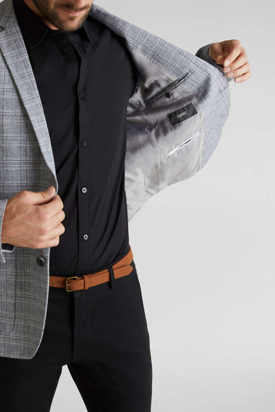 SUMMER CHECK mix + match tailored jacket, BLUE 3, detail image number 2