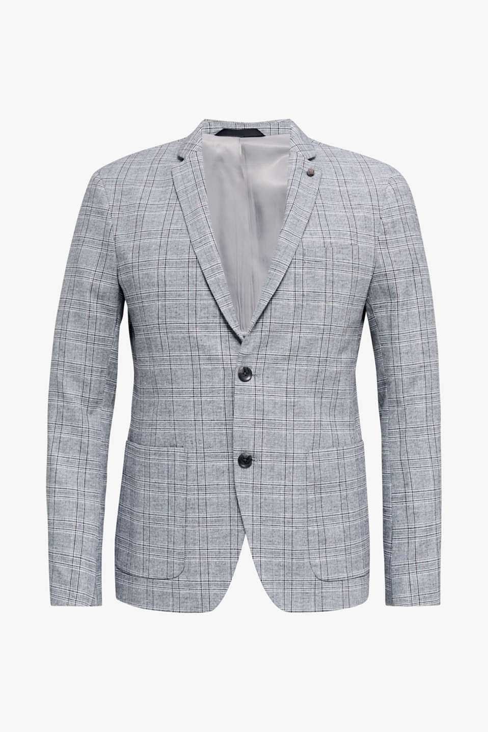 SUMMER CHECK mix + match tailored jacket, BLUE 3, detail image number 6