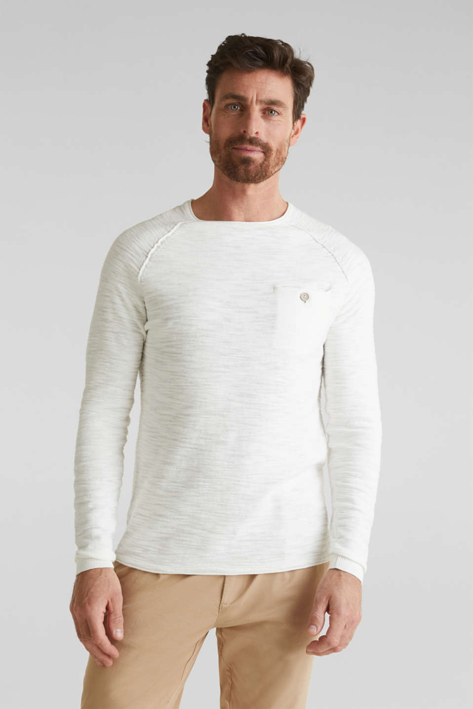 Esprit - Jumper with a pocket, 100% cotton