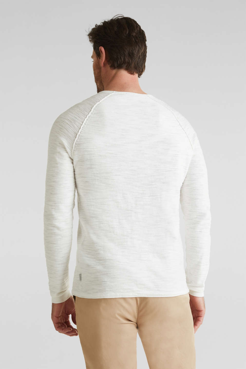 Jumper with a pocket, 100% cotton, OFF WHITE, detail image number 3