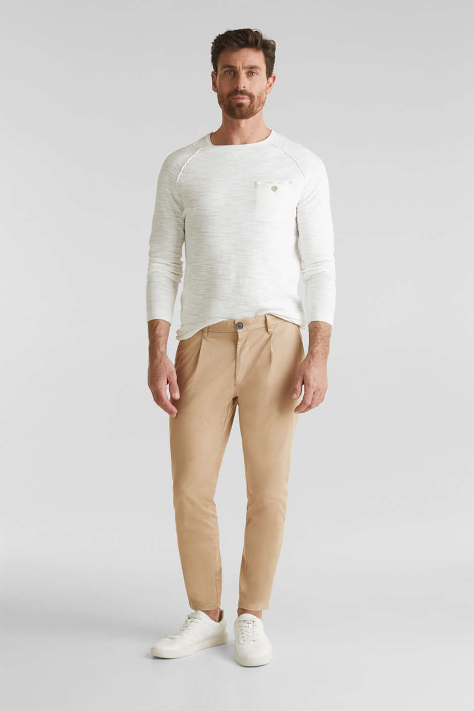 Jumper with a pocket, 100% cotton, OFF WHITE, detail image number 1