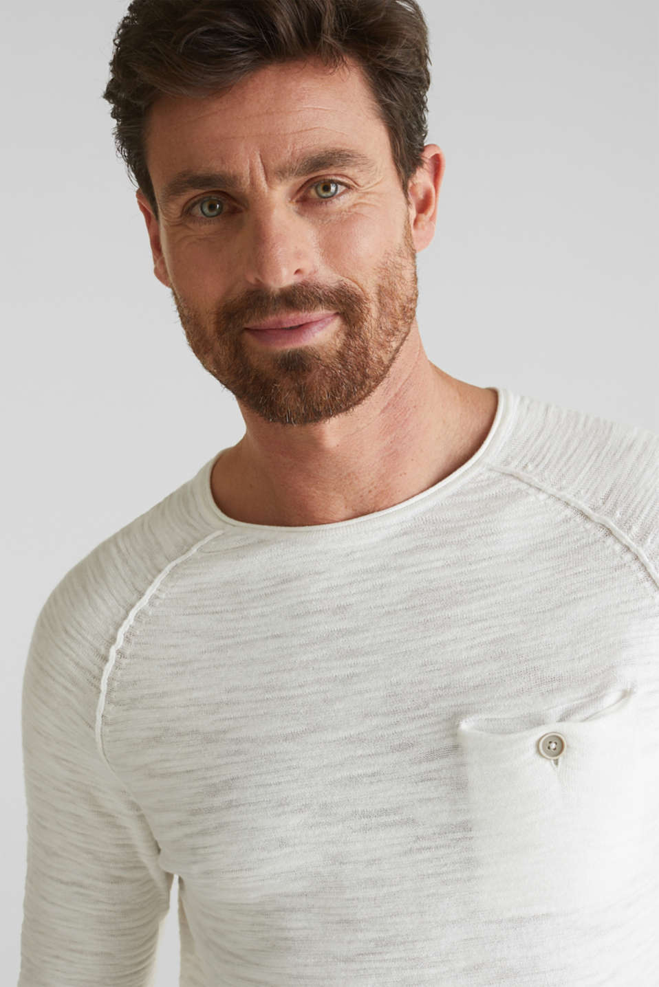 Jumper with a pocket, 100% cotton, OFF WHITE, detail image number 5