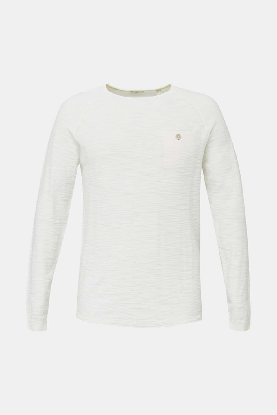 Jumper with a pocket, 100% cotton, OFF WHITE, detail image number 7