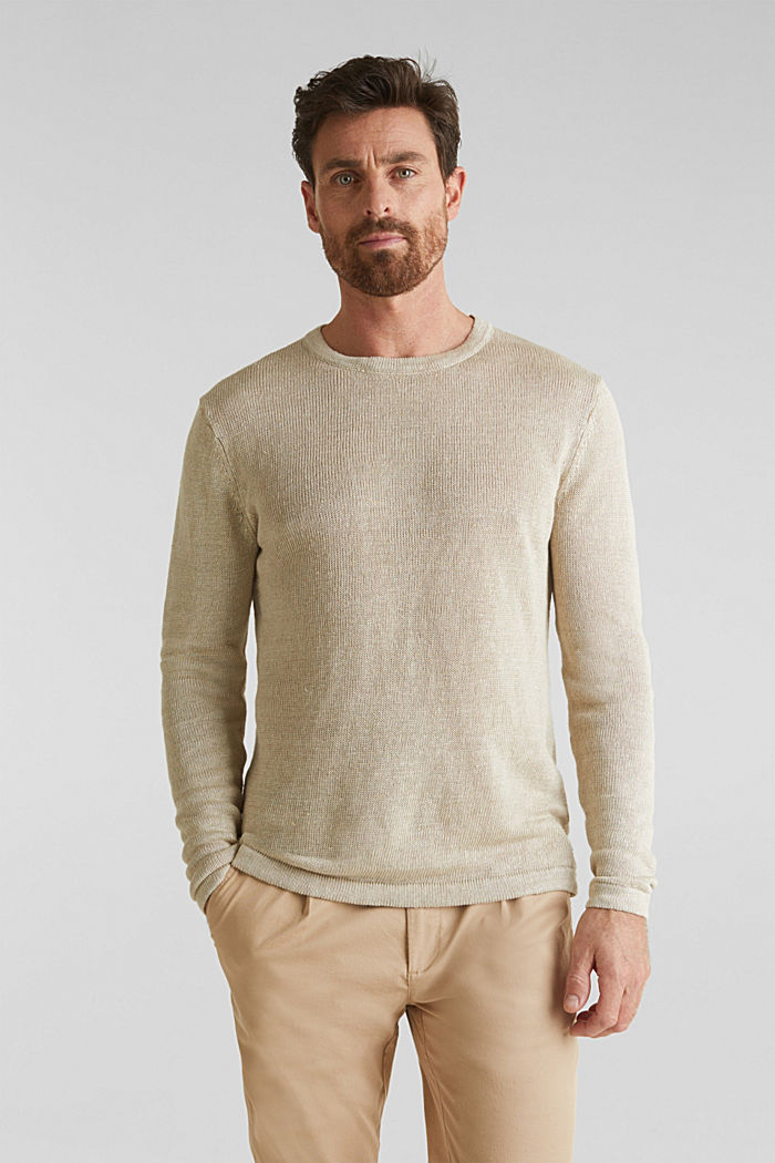 100% linen: knit jumper, LIGHT BEIGE, detail image number 0