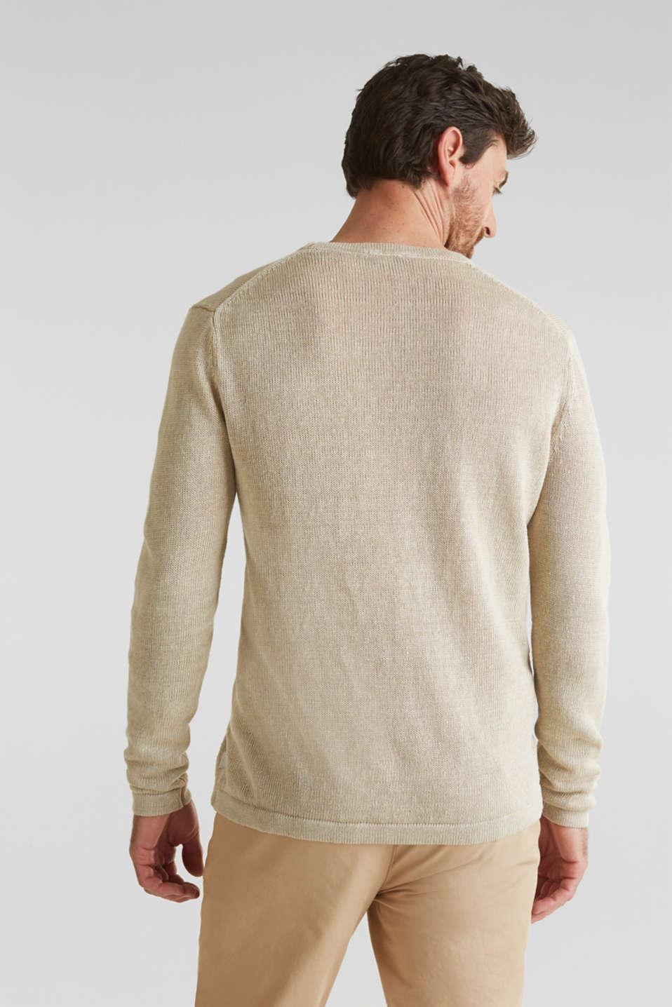 100% linen: knit jumper, LIGHT BEIGE, detail image number 3