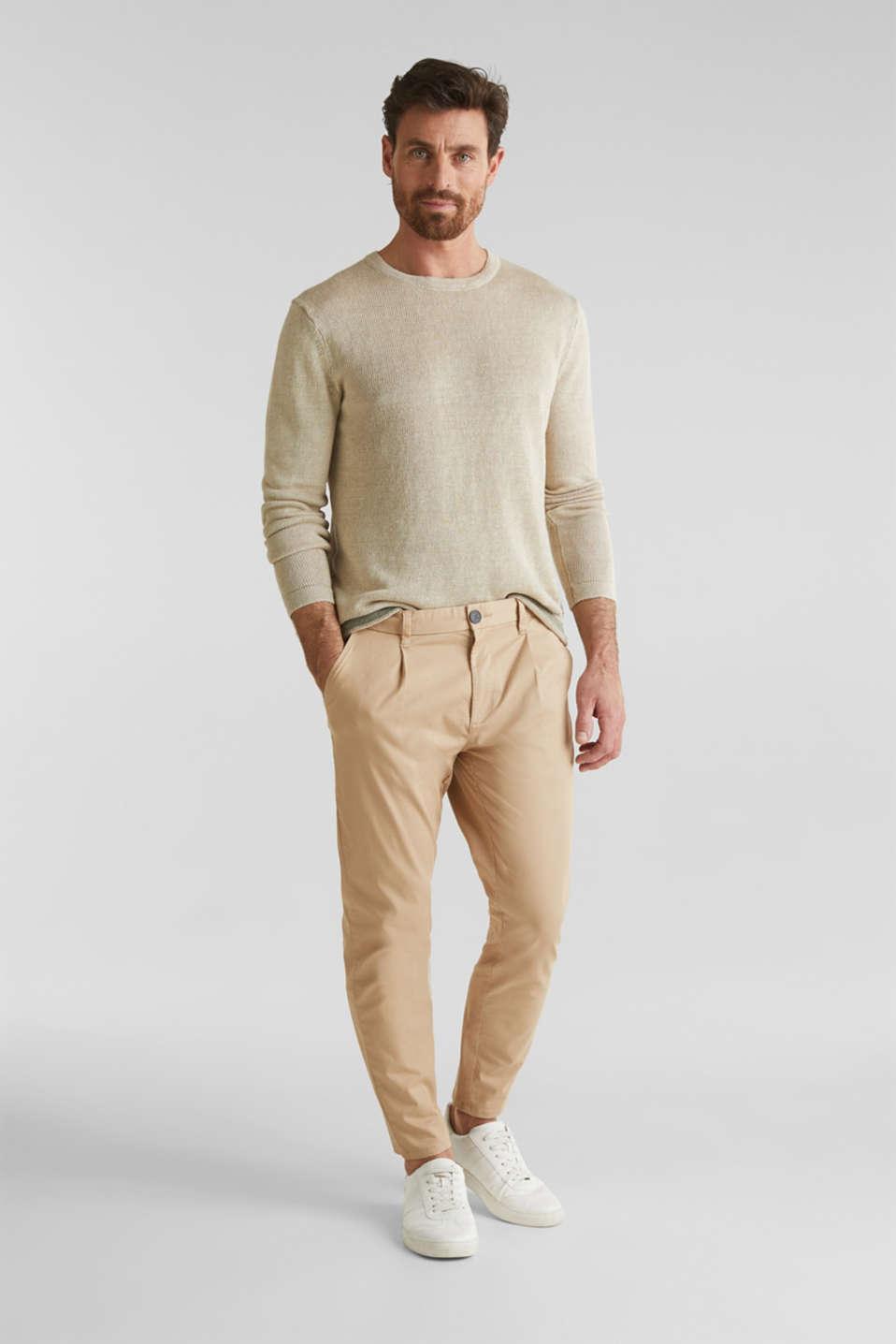 100% linen: knit jumper, LIGHT BEIGE, detail image number 1