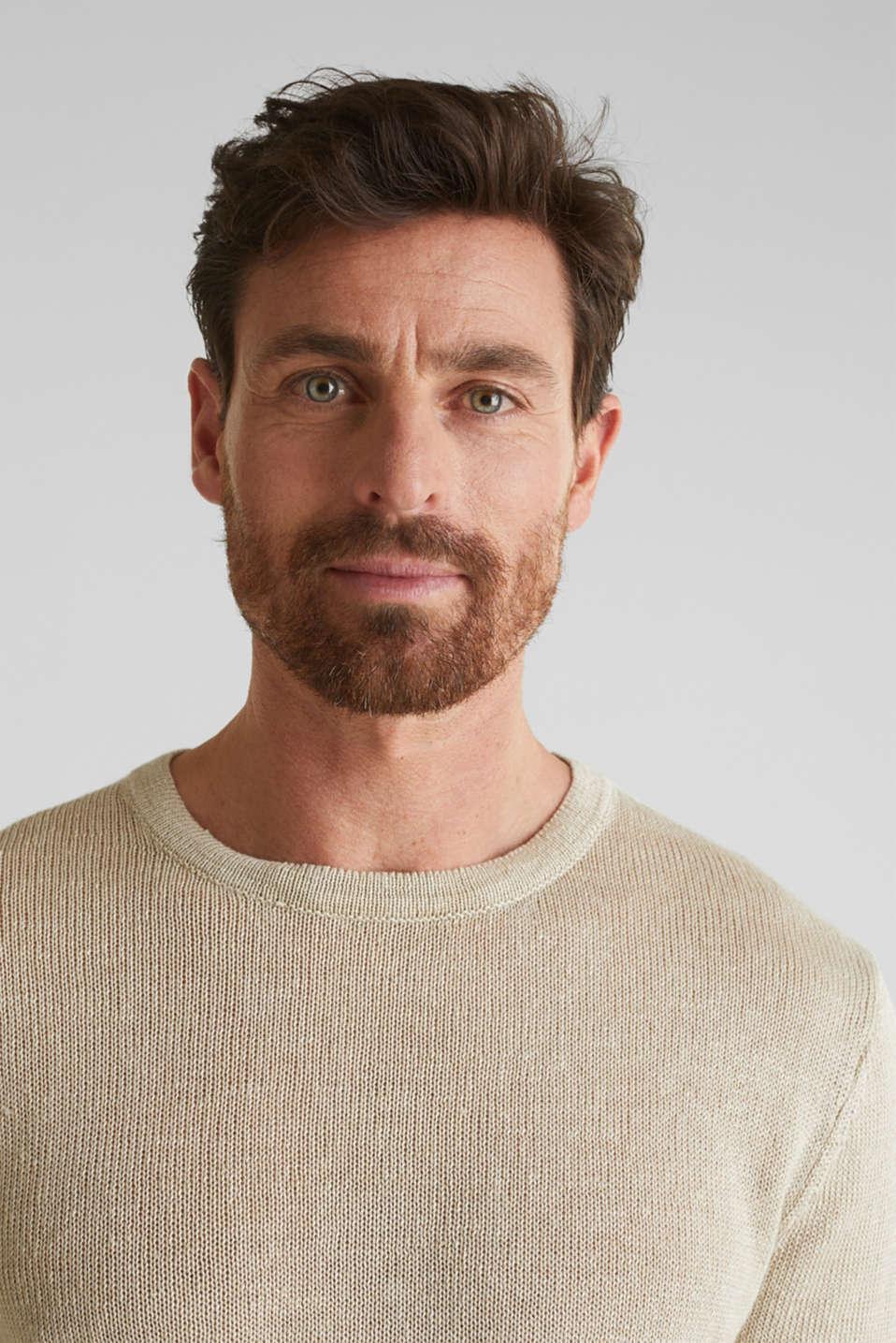 100% linen: knit jumper, LIGHT BEIGE, detail image number 2