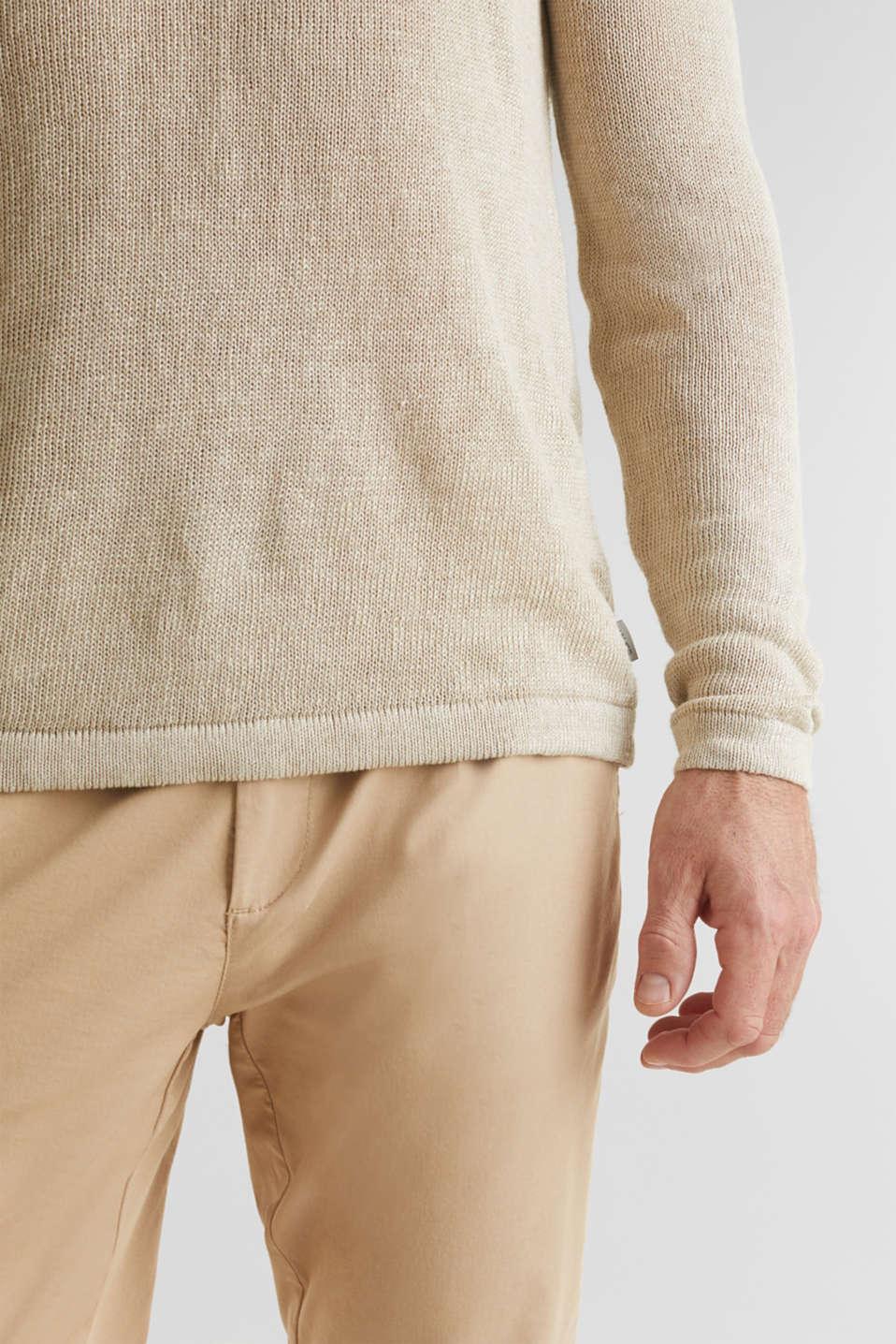 100% linen: knit jumper, LIGHT BEIGE, detail image number 5